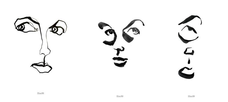 Portraits Inge in ink