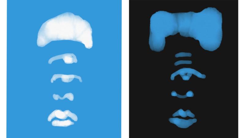 Portraits written like characters Blue & Black