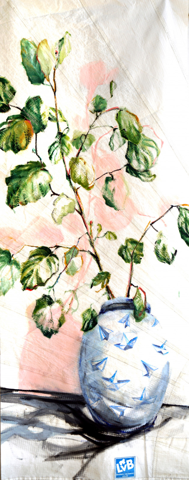 Plant in Paper plane Pot | oil paint on sailcloth | 90 x 230 cm