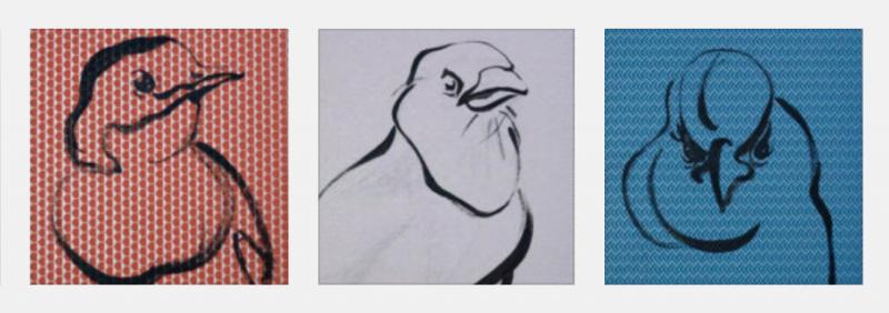 Wallpaper Birds - paintings acrylic on wallpaper