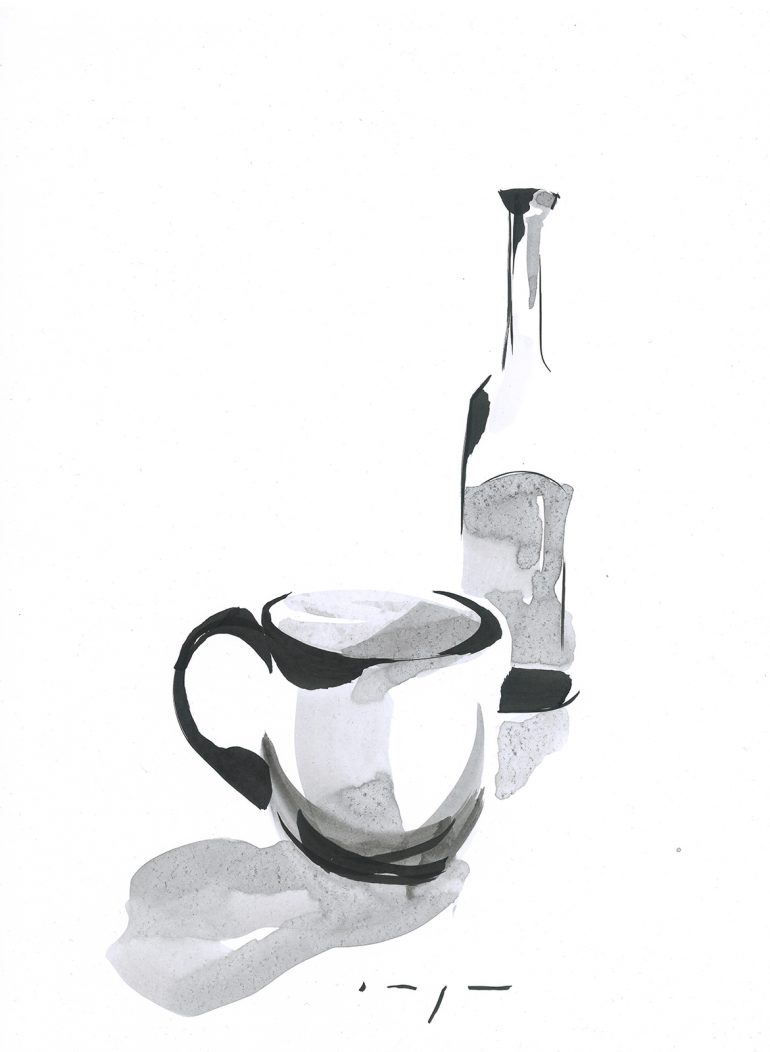 Bottle and Cup | Ink on Paper