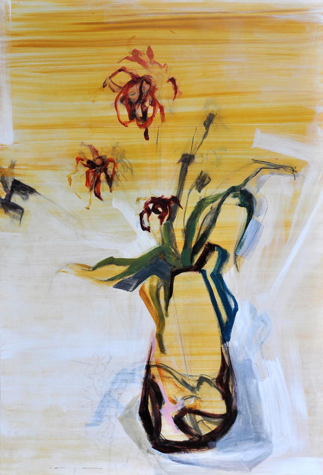 Flowers Vase and Hare | Original Artwork