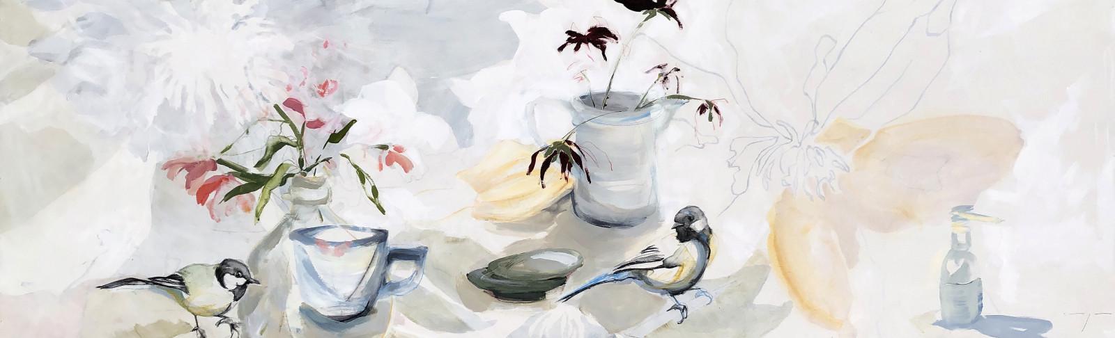 Birds and Flowers Still life   Original Artwork