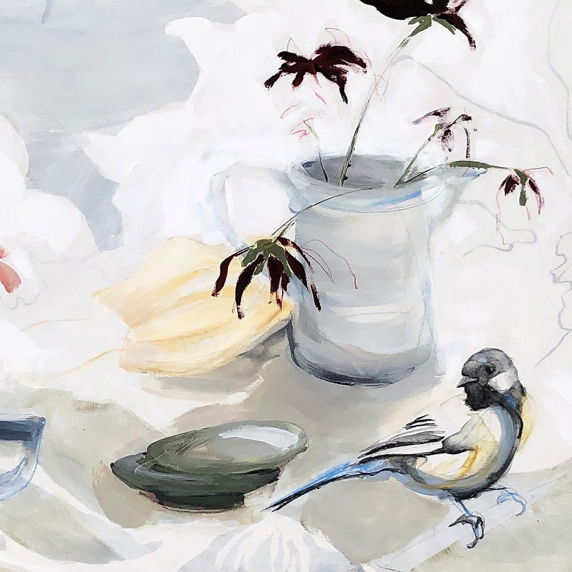 Birds and Flowers Still life   Detail Original Artwork
