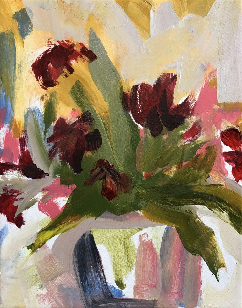 Burgundy Flowers in pot | original artwork