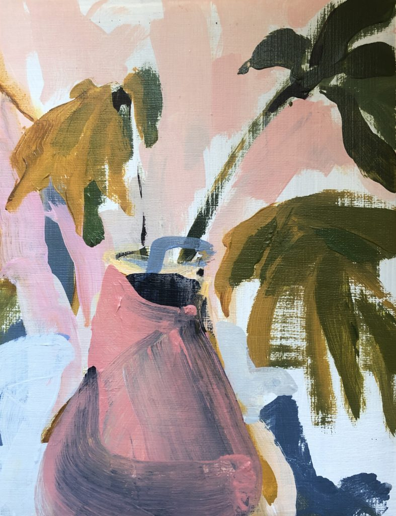 Leaves in Pink Pot | original artwork