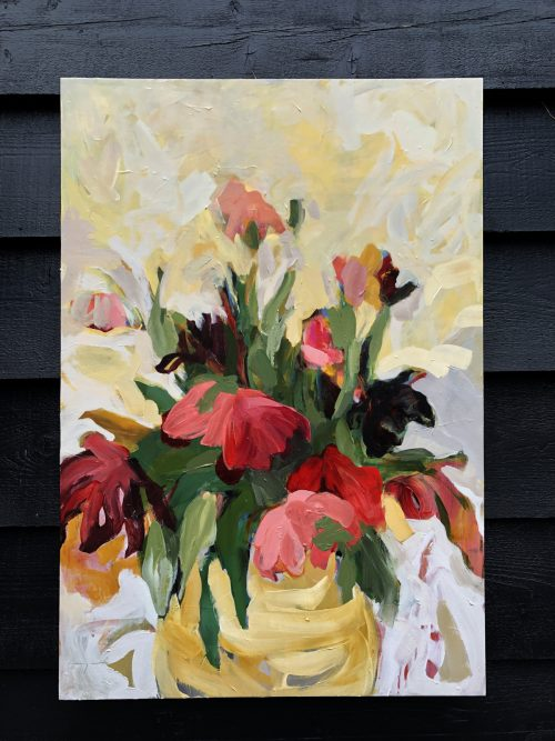 Abundant Tulip Flowers in Vase | Original Artwork | Wall