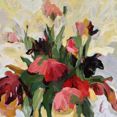 Abundant Tulip Flowers in Vase   Original Artwork