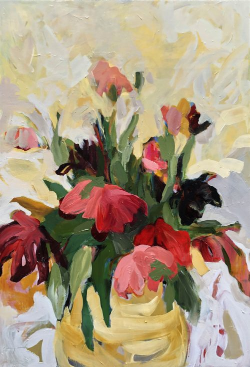 Abundant Tulip Flowers in Vase | Original Artwork