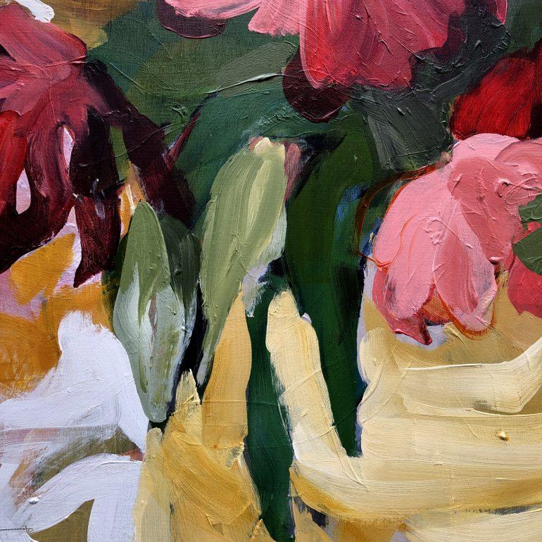 Abundant Tulip Flowers in Vase | Original Artwork | Detail