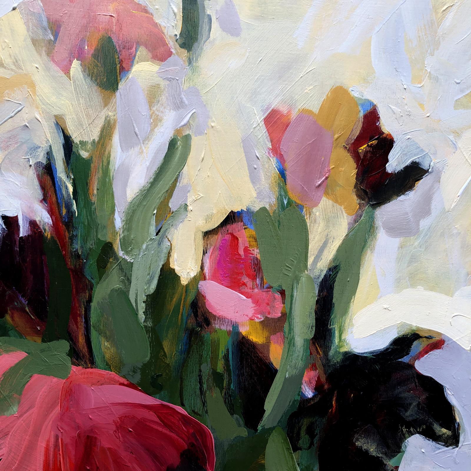 Abundant Tulip Flowers in Vase | Original Artwork | Detail