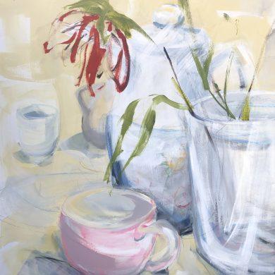 Single Flower Tea Still Life   Original Artwork