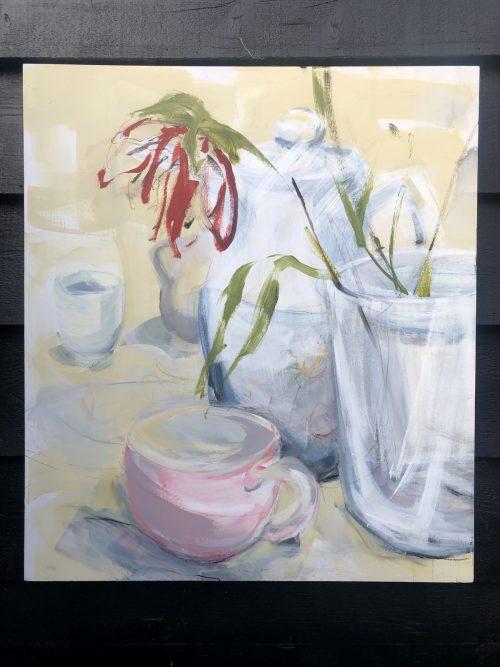 Single Flower Tea Still Life | Original Artwork | Wall