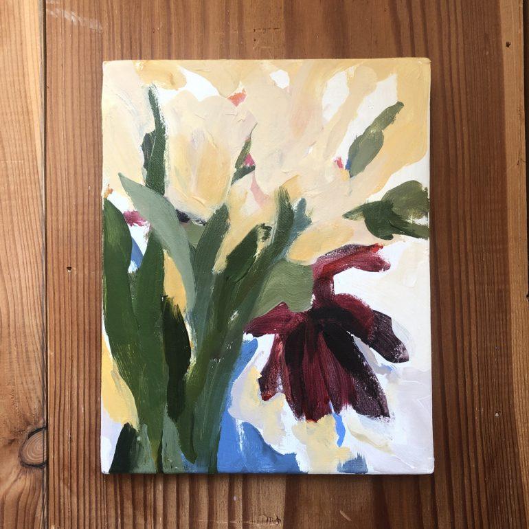 Single Burgundy Flower | original artwork