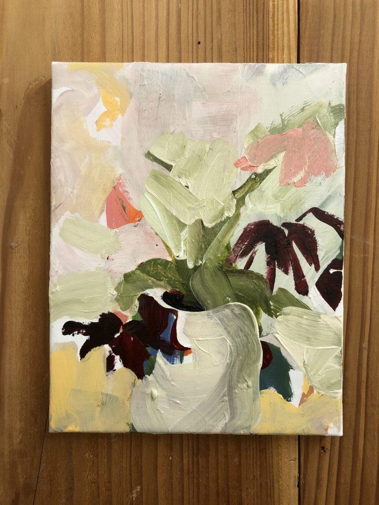 White Pot Dark Flowers | original artwork