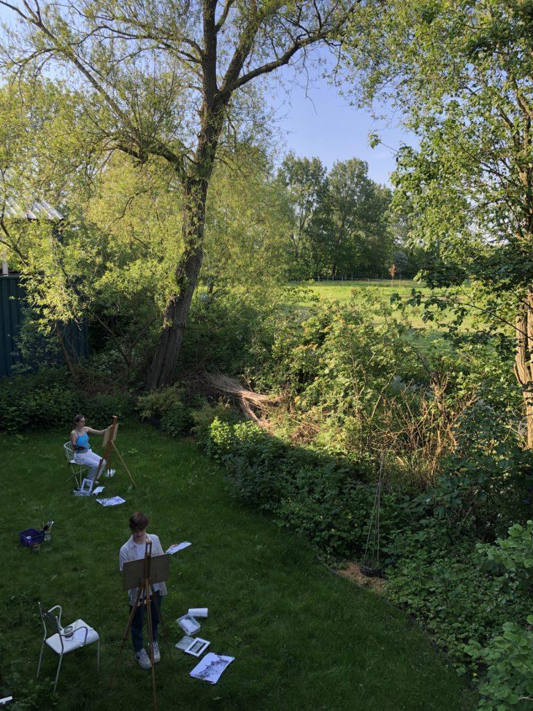 Art class in studio garden
